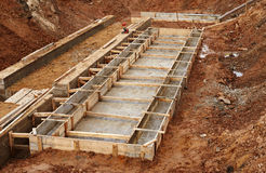 Construction of an industrial building foundation Stock Photo