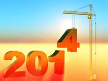 2014 construction. Industrial illustration of new year Royalty Free Stock Images