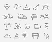 Construction and industrial machinery icon set Royalty Free Stock Images