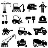 Construction and industrial machinery icons. Construction and industrial machinery icon set Stock Images