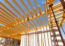 Construction of an industrial plant floors. With yellow i-beams Royalty Free Stock Image