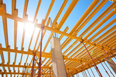 Construction of an industrial plant floors. With yellow i-beams Stock Photo