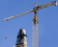 Construction industrial site. Bridge assembling with huge crane and falsework Stock Photography