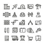 Construction industry, building house, architectural engineering and machinery thin line vector icons. Construction industry icons, illustration of house Royalty Free Stock Photography