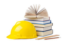 Construction industry education concept. On white Royalty Free Stock Images