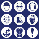 Construction Industry Icons. Construction Industry Health and Safety Icons isolated on blue background Royalty Free Stock Photography