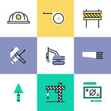 Construction industry pictogram icons set. Construction crane symbol, building industry objects, industrial engineering tools, professional builder items royalty free illustration