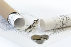 Construction industry, real estate and property investment plans royalty free stock photo