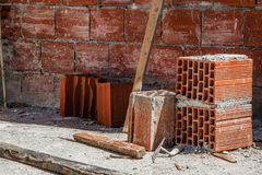 Construction site - red bricks construction stock photo