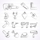 Construction industry and Tools icons Royalty Free Stock Images