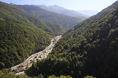 Construction of infrastructure in the Krasnaya Polyana. Caucasus Mountains Royalty Free Stock Photos