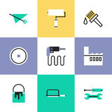 Construction instruments pictogram icons set. Flat line icons of construction instruments, engineering tools, industry equipments for building, repairing and Royalty Free Stock Photo