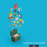Construction integrated 3d web icons. Growth and progress concept Royalty Free Stock Image