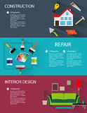 Construction and interior design banners Stock Photo