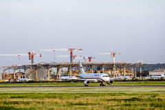 The construction of the international terminal of Pulkovo airpor Royalty Free Stock Image