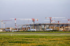 The construction of the international terminal of Pulkovo airpor Royalty Free Stock Photography