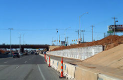 Construction on the interstate system in Oklahoma City, Oklahoma. Royalty Free Stock Images