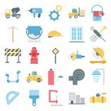 Construction Isolated Vector Icons Set Consist truck, miner, wall, tools, barrier, cone, traffic, buildings and brick, stock illustration