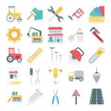 Construction Isolated Vector Icons Set Consist safety jacket, nal, spanner, drafting tools, bag, cutter and caliper royalty free illustration