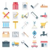 Construction Isolated Vector Icons Set Consist safety jacket, nal, spanner, drafting tools, bag, cutter and caliper vector illustration