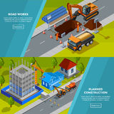 Construction Isometric Horizontal Banners Royalty Free Stock Image