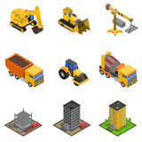 Construction Isometric Icons Set. With paver excavator and bulldozer isolated vector illustration Stock Photos