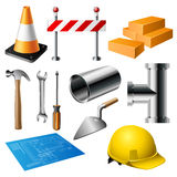 Construction item set. Containing pipe, brick, tools, house plan and hat isolated on white Stock Photography