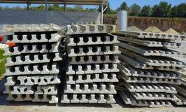 Construction job site prestressed concrete beams  Stock Photo