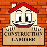 Construction Laborer Shows Building Worker 3d Illustration. Construction Laborer Showing Building Worker 3d Illustration Stock Photography