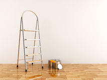 Construction Ladder In Empty Room. Stepladder 3D Stock Photo