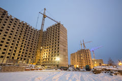 Construction of large apartment houses Royalty Free Stock Photo