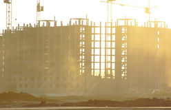 Construction of a large building. In the sunset Stock Images