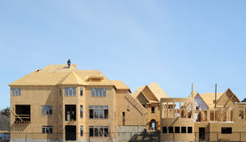 Construction of a large home. Against blue sky royalty free stock photos