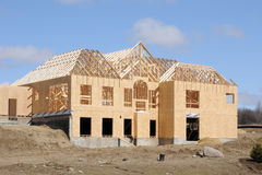 Construction of a large home. Wood Frame and walls royalty free stock images