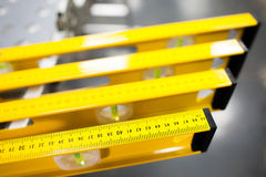 Construction level ruler display on tools store Royalty Free Stock Image