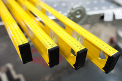 Construction level ruler display on tools store Stock Photos