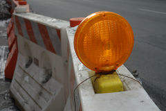 Construction Light and Barrier Royalty Free Stock Photography
