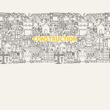 Construction Line Art Seamless Web Banner Royalty Free Stock Photography