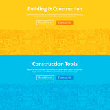 Construction Line Art Web Banners Set Royalty Free Stock Photo
