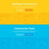 Construction Line Art Web Banners Set Royalty Free Stock Photo