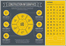Construction Line Design Infographic Template Royalty Free Stock Photography