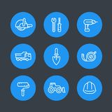Construction line icons set Royalty Free Stock Image