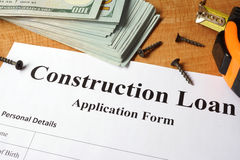 Construction loan form. royalty free stock image