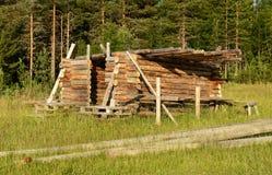 Construction of log house Stock Photos