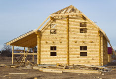 Construction of log houses Royalty Free Stock Photo