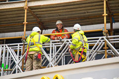 Construction. LONDON - JANUARY 27TH: workman having a briefing on January 27th, 2015 in London, England, UK. 2.2 million people are employed in the UK royalty free stock images