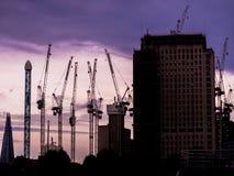 Construction in London Purple Sunset Stock Photos