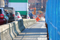 Construction and the Long Traffic Line-up. Construction causes severe traffic disruptions on the local commute Royalty Free Stock Image