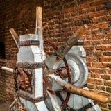 Construction médiévale de porte ouverte de château dans le château de Muiderslot holland photo libre de droits