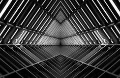 Construction métallique semblable à l'intérieur de vaisseau spatial en noir et blanc photographie stock libre de droits